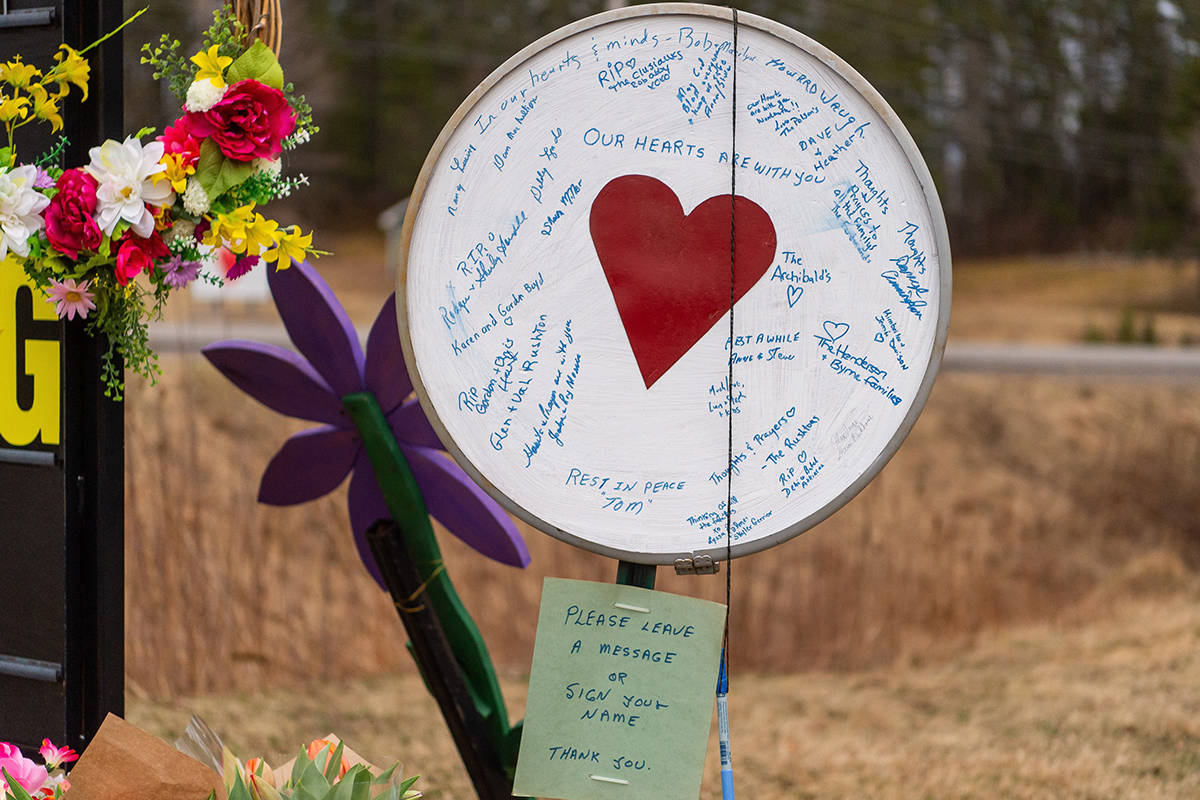 A memorial is seen at the Wentworth Recreation Centre in Wentworth, N.S. on Friday, April 24, 2020. 22 people are dead after a man went on a murderous rampage in Portapique and several other Nova Scotia communities.THE CANADIAN PRESS/Liam Hennessey