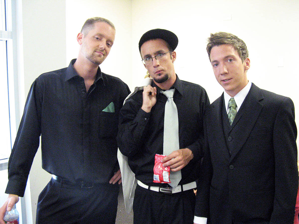 Simon de Laat, right, and the guys with makeup applied, ready to go on set of America's Funniest Home Videos. From left: Jared Smith, David Wohland, de Laat. (Photo submitted)